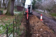 Trenching for heatmain pipe